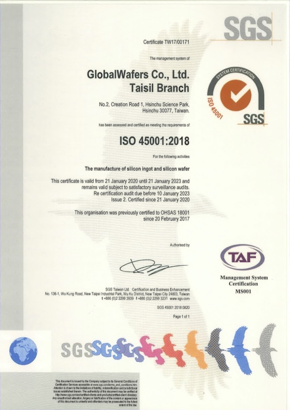 GlobalWafers Co., Ltd. Taisil Branch